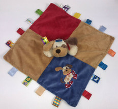 """Taggies Puppy Dog Security Baby Blanket Lovey Blue Red Brown 14"""" - $20.78"""
