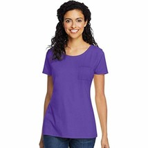 Hanes Women's Lightweight Short Sleeve Pocket Tee, New Bright Plum Purple - $15.66