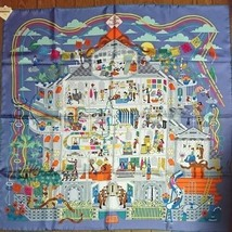 Hermes Scarf Stole La Maison des Carres 90 Silk 100% Pierre Marie Woman New rare - $627.49