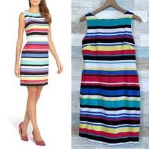 Tahari Bold Striped Linen Blend Sheath Dress Colorful Sleeveless Breezy ... - $39.59