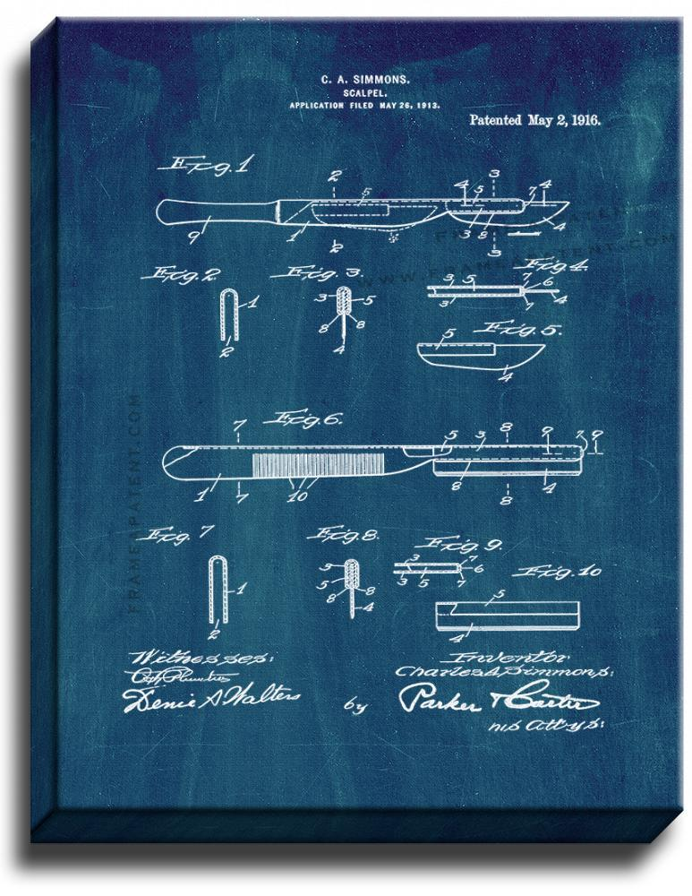 Primary image for Scalpel Patent Print Midnight Blue on Canvas
