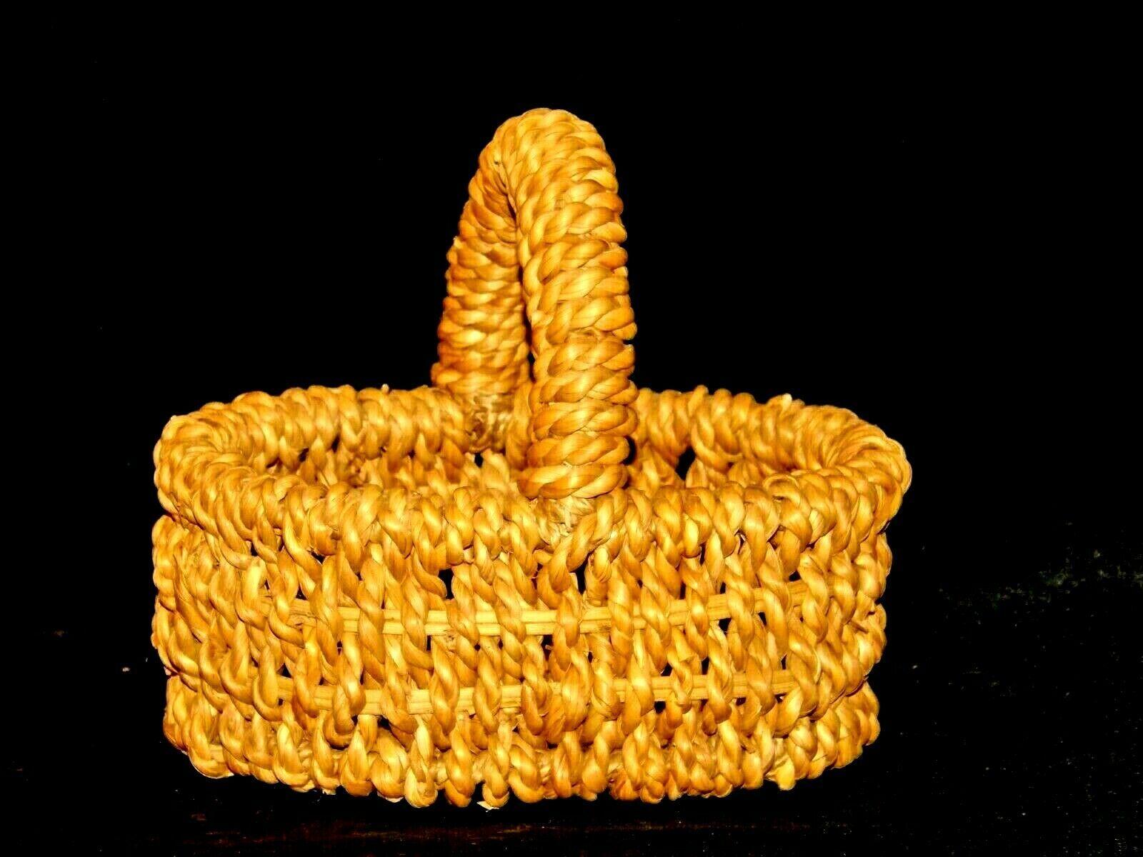 Handmade Woven Wicker Basket with Handle AA-191713 Vintage Collectible