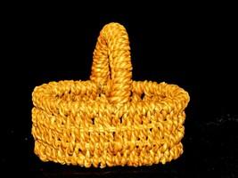 Handmade Woven Wicker Basket with Handle AA-191713 Vintage Collectible image 1