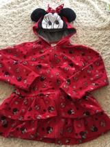 Disney Girls Red Black Silver Minnie Mouse Hoodie Sweatshirt Ears Bow Ru... - $15.97