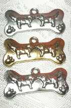 DOG BONE FINE PEWTER PENDANT CHARM - 27mm x 14mm x 2mm