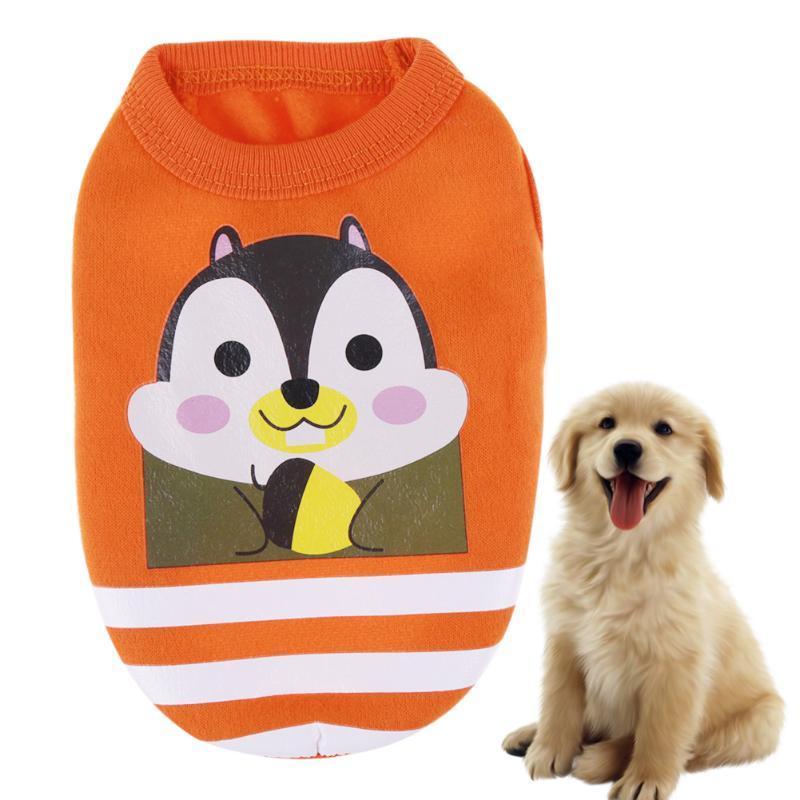 (orange size S)Cute Cartoon Pet Dog Clothes Vest Cotton Pet T shirt Vest Puppy