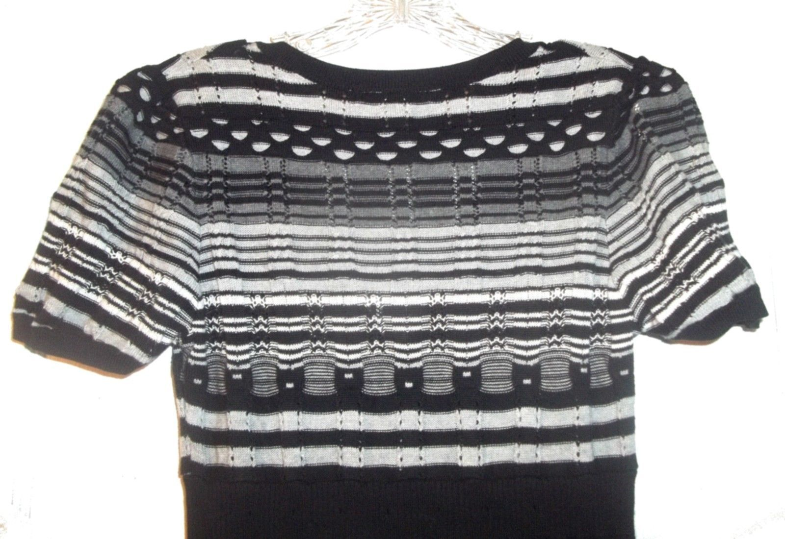 Size Jrs L - Forever Black, White & Gray Striped Sweater Dress w/V-Neckline