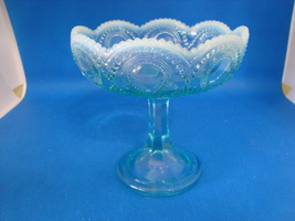 Blue Opalescent glass footed compote. - $15.00