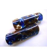 Vintage Clear Lucite Blue Confeti Modernist Big Brooch Italy 1970s - $27.00