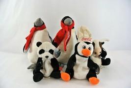 Coca Cola Beanbag Plush Lot Penguins International China Panda Argentina Ox x 5 - $43.35