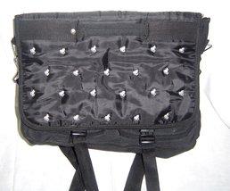 Black Horse Book/Computer Bag Embroidered White Horses Adjustable Should... - $19.99