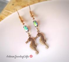 Gold Seahorse Earrings Rainbow Gem Earrings Naitical Earrings Gold Sea H... - $54.00