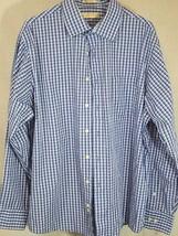 michael kors Men's Button Down plaid blue dress Sleeve long Shirt Size 17 1/2 - $19.79