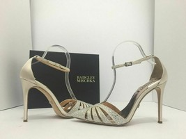 Badgley Mischka Sirena Ivory Satin Women's Evening High Heels Sandals Si... - $58.88