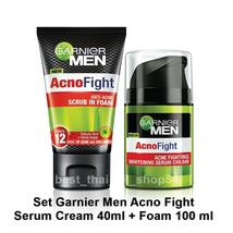 Set Garnier Men Acno Fight Whitening Serum Cream 40ml + Foam 100ml EXPRE... - $48.90