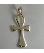 SOLID 9K YELLOW GOLD CROSS OF LIFE ANKH, MADE IN ITALY, ENGRAVABLE - £60.87 GBP