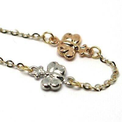 Bracelet or Jaune Blanc Rose 18K 750, Papillons, Déclaration, Martélées, 17.5 CM