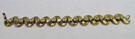 "Vintage Costume Jewelry LISNER Designer Clear Rhinestone Gold Tone Bracelet 7"" - $45.00"