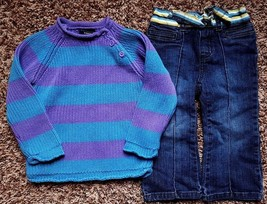Girl's Size 24 M Months 2 Pc Purple Blue Striped PLACE Sweater & Old Nav... - $27.00