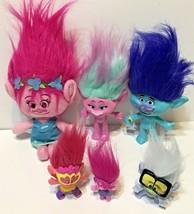 Lot of 6 Troll Plush Plastic Figures Dolls Various Sizes One Talking - $18.54