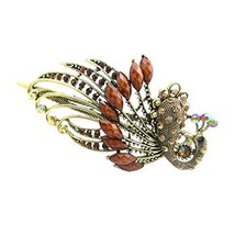Retro Peacock Pattern Luxury Aulic Style Crystal Bronze Alloy Hair Claws, Coffee