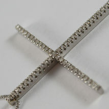 SOLID 18K WHITE GOLD NECKLACE WITH BIG CROSS, DIAMONDS, DIAMOND MADE IN ITALY image 5