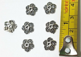 6 Pcs. Fine Pewter Bead Caps - 11mm; Hole 1mm Antique Silver image 2