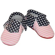 Pink Striped 4th of July American Flag Baby Moccasins (5.4 inches (18-24... - $6.99