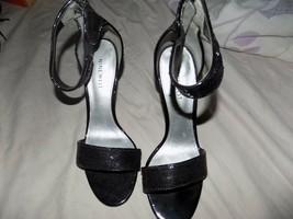 Pre-Owned Nine West Black Sequin shoe zipper strap Size 7.5 - $15.99