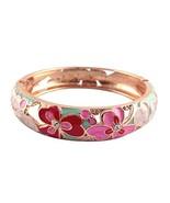 UJOY Cloisonne Bracelet Hollow Enamel Gold Plated Spring Hinged Lady Gir... - $16.07