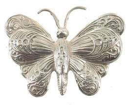 Vintage Sterling Silver Very Ornately Engraved Butterfly Bug Pin Pretty ... - $53.99
