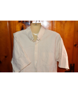 Men's Tan Plaid Short Sleeve Dress Shirt by Van Heusen Size L Large (16)... - $10.69