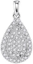 10k White Gold Womens Round Diamond Framed Teardrop Cluster Pendant 1/4 Cttw - $288.00