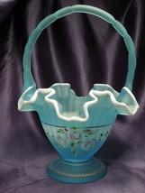 Fenton Charleston Collection 2002 Hand Painted Glass Art Basket Bill Fenton - $49.50