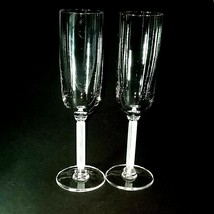 2 (Two) Vintage Mikasa Horizon Frosted Stem Crystal Champagne Flutes Discontinue - $43.45