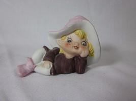 Vintage HOMCO Pixie Elf Fairy Figurine 5213 Purple - $6.33