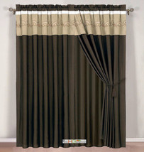 4P Botanic Garden Spores Leaves Embroidery Curtain Set Brown Khaki Beige... - $40.89