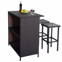 3-Pc Outdoor Rattan Wicker Bar Set Patio Furniture Backyard Table & 2 Stools NEW image 2