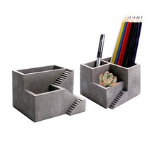 ComSaf Cement Pen Pencil Holder with Small Succulents Planter Box, Concr... - $25.04 CAD