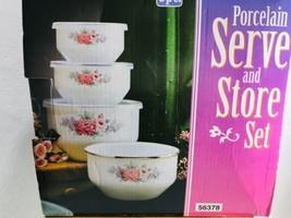 NEW Set of 4 Serve And Store Porcelain on steel bowls plastic storage lids - €21,33 EUR