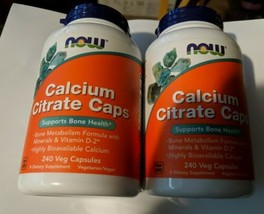 NOW Calcium Citrate Caps 2 Pack Supports Bone Health Lot of 2 EXP 12/2021 - $17.82