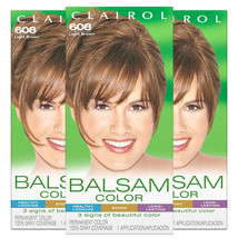 Pack of (3) New Clairol Balsam Permanent Hair Color, 608 Light Brown - $25.49