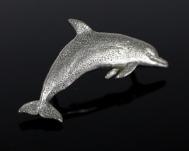 Vintage 1989 GG HARRIS Pewter Dolphin # 475 Lapel Jacket Pin Costume Jew... - $4.49
