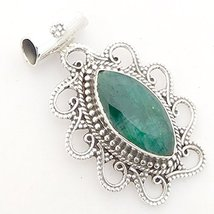 Emerald Vintage Solid 925 Sterling Silver Pendant Mother's Day Gift - $52.46