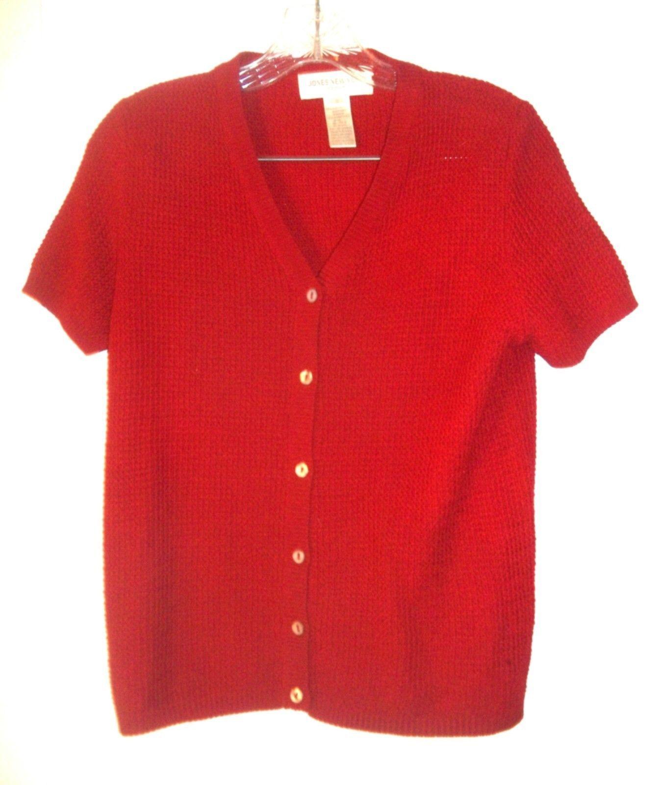 Size S - Jones NY Sport Red Textured Acrylic & Nylon Short Sleeve Sweater  - $23.74