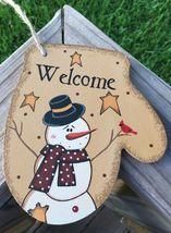 Primitive Wood WL020 Welcome Snowman Mitten Chr... - $3.95