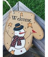 Primitive Wood WL020 Welcome Snowman Mitten Christmas Ornament  - $3.95