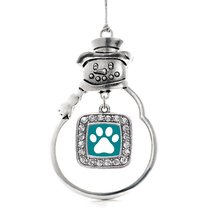 Inspired Silver Pretty Paw Print Classic Snowman Holiday Ornament - $14.69