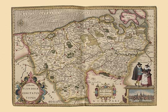 Flanders, Belgium Map by Pieter Van der Keere - Art Print - $19.99 - $179.99