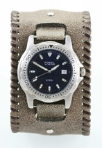 Fossil Watch Mens Blue Stainless Silver Brown Wide Leather Date 100m Quartz - $33.45